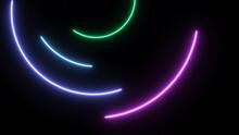 Looping Glow Neon Circle Running Around Background