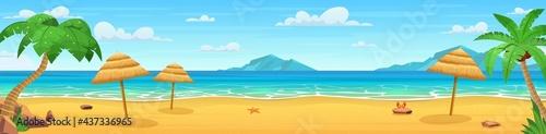 Papel de parede Sea panorama. Tropical beach