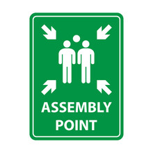 Fire Assembly Point Sign, Gathering Point Signboard, Emergency Evacuation Vector For Graphic Design, Logo, Web Site, Social Media, Mobile App, Ui Illustration