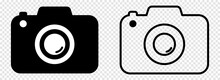 Camera Icons. Photo Camera In Flat And Line Art Style. Design For Graphic And Web Design. Vector Isolated On Transparent Background