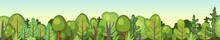 Flat Forest. Horizontal Seamless Composition. Foliage. Cartoon Style. Funny Green Rural Landscape. Level The Game. Comic Design. Cute Scene With Trees. Vector