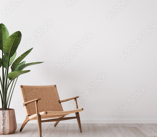 Wall mock up in white simple and minimal interior with wooden furniture, 3d render