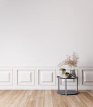 Empty Wall Mockup In White Modern, Simple And Elegant Room Interior, 3d Render