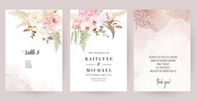 Dusty Pink And Ivory Beige Rose, Pale Hydrangea, Fern, Dahlia, Ranunculus, Fall Leaf Bunch Of Flowers Invitation Card. Floral Pastel Watercolor Style Wedding Frame. Bronze Gold. Isolated And Editable
