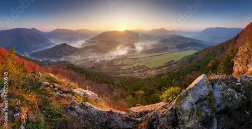 Fototapeta Beautiful autumn panoramic landscape in mountains, Slovakia