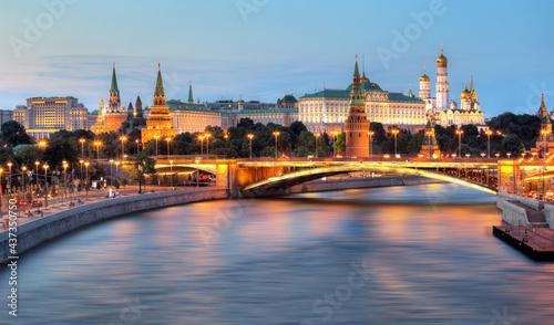 Obraz na plátně Russia - Moscow city at night with Kremlin