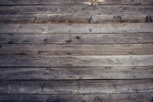 Exposed Hardwood Planking. Old Wooden Background, Dilapidated Horizontal Boards, Close-up.