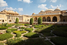 Courtyard Of Amber Fort Near Jaipur. Rajasthan. This Is A Place Of Tranquility When There Are Not So Many Tourists. Day.