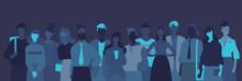 Silhouette Di Giovani Persone, Professionisti E Studenti Sullo Sfondo Scuro