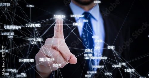 Composition of businessman touching screen with text and network of connections