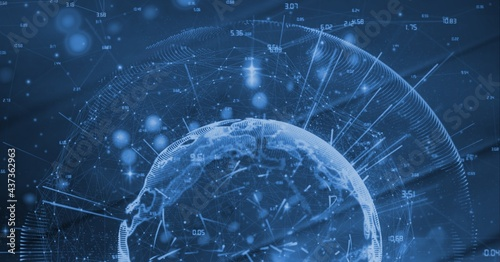 Compostion of globe of network of connections on blue background
