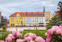 Bydgoszcz, Poland. View Of Old Market (Stary Rynek) Square With Flowers On Foreground