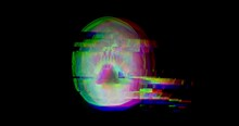 2K Bad Signal Digital Animation, Hologram Human Skull, X-ray Head On Black Background. Abstract Motion Animated Footage With Distorted Glitch Effect, Damage, Noise Pixel Elements. Stock Video Footage