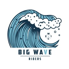 Summer Wave With Foam For Surfing Hawaii Print. Wavy Sea Or Ocean For Nautical T-shirt Design. Logo Of Summer Marine Tide