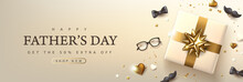 Father's Day Card With Luxury Golden Festive Decoration Background