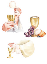 Watercolor Illustration. Holy Communion, Last Supper. A Bowl Of Wine, Bread, Grapes And Ears Of Wheat. Easter Service, Catholicism, Protestantism