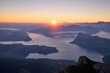 Mountain Landscape During Beautiful Dawn. View From Mount Pilatus. Lucerne, Switzerland.