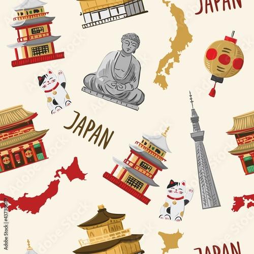 ozdobny-wzor-z-tradycyjna-japonska-architektura-rzezba-symbolami-pamiatkami-mapa-na-bialym-tle-orientalne-tlo-do-pakowania-papieru-tkaniny-tapety-ilustracja-wektorowa