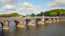 Angers, Maine-et-Loire, France. The Verdun Bridge (pont De Verdun) Is A Bridge Crossing The Maine River In The Center Of Angers That Connects Downtown To The La Doutre District.