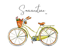 Bycicle With Flower Basket Watercolor Clip Art