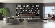 Leinwandbild Motiv Illustration 3D rendering large luxury modern bright interiors Living room mockup computer digitally generated image