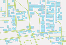 Marked Territory On Cadastral Map, Top View. Illustration