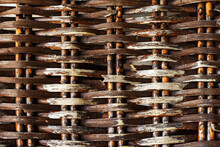 Fragment Of An Old Wicker Fence With A Textured Effect. Flat Lay Frame