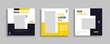 Set of Editable minimal square banner template. Blue yellow white background color with geometric shapes for social media post and web internet ads. Vector illustration