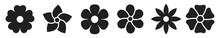 Flower Icon Set, Black Flower Isolated On White, Vector Illustration
