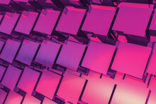 Abstract 3D Background With Square Panels Resembling Solar Panels Close-up In Vivid Colors