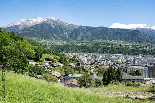 Papel de parede Sicht auf Naters/Brig, Goms, Kanton Wallis, Schweiz