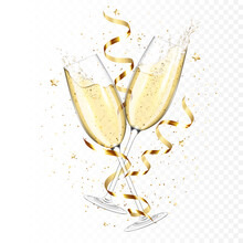 Transparent Realistic Two Glasses Of Champagne With Ribbons And Confetti, Isolated.