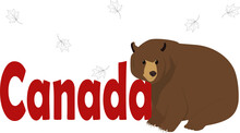 Word With Cute Bear. Canada Day Concept. Greeting Banner.
