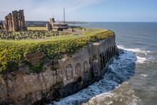 Tynemouth Priory And Castle Cliffs Over The Sea