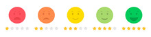 Set Of Emoticons Stars Rating Feedback In A Flat Design