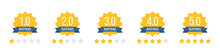 Set Of Rating Stars Badges With Ribbon In A Flat Design