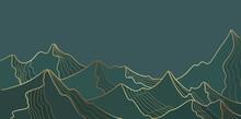Golden Mountain Line Landscape, Wallpaper Mountainous Design For Print. Alpine Abstract View Vector Illustration