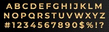Golden Font Numbers And Letters Alphabet Typography. Vector Gold Font Type With 3d Metal Gold Effect