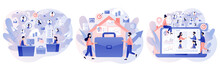 Remote Working. Work From Home And Work From Anywhere. Tiny People Connecting And Working Online. Freelance. Modern Flat Cartoon Style. Vector Illustration On White Background