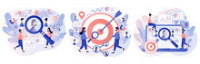Target Audience, Customers Outreach, Digital Targeting Marketing, Business Goal, Sales Generation. Tiny People Set Up Advertice On Social Networks. Modern Flat Cartoon Style. Vector Illustration