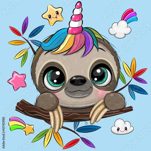 Fototapeta premium Cartoon Sloth with Unicorn Horn a blue background