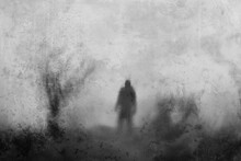 A Blurred, Mysterious Man Back To Camera, Standing Next To A Tree. With An Artistic, Abstract Edit.