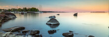 Scandinavia, Finland, The Islands, The Coast Of Southern Finland. The Gulf Of Finland, Sunset, Panorama, Landscape, Harbor  .