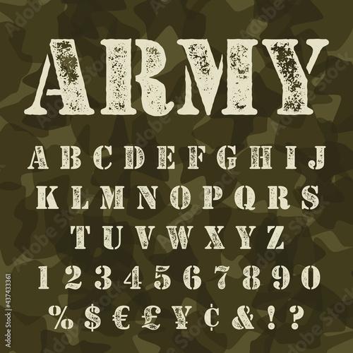 Military stencil alphabet set camouflage