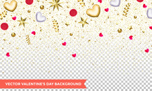 Valentines Day Of Hearts And Gold Glitter Confetti Or Flowers On Transparent Background. Vector Valentine Holiday Design Pattern Of Glittering Gold Stars And Hearts
