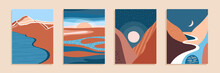 Abstract Contemporary Aesthetic Landscape, Bohemian Modern Background, Minimalist Wall Decor For Posters, Banners, Layouts. Vector Illustration.