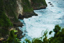 Sea Wave Running Along The Rocky Shore And The Edge Of The Rainforest, Top View, Summer Background