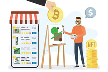 Technology Of Selling NFT Tokens For Cryptocurrency. Mobile Phone With Art Store App. Male Artist Stands At An Easel And Draws Picture. Painter Sells Artworks Online.