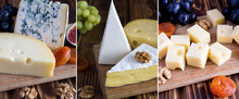Collage Of Different Sorts Of Cheese, Fruit And Nut On The Table
