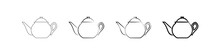 Teapots Icons Set. Vector Illustration Of Teapots With A Lid. Collection Of Isolated Teapots Drawn With Black Lines On A White Background.